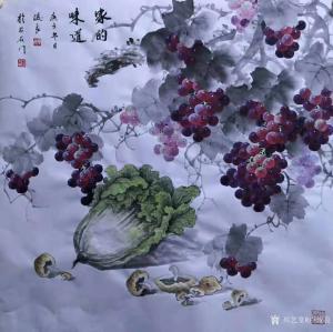 卢俊良国画作品《白菜葡萄-家的味道》价格1000.00元