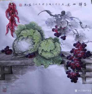 卢俊良国画作品-《白菜葡萄-吉祥如意》