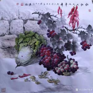 卢俊良国画作品-《红红火火又丰年》