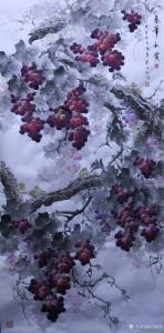卢俊良国画作品-《葡萄-春华秋实》
