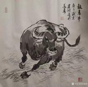 刘建国国画作品《报春牛》价格600.00元