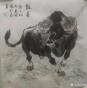 刘建国国画作品《牛-报春》价格600.00元