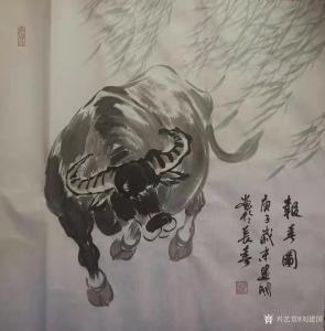刘建国国画作品《牛-报春图》价格600.00元