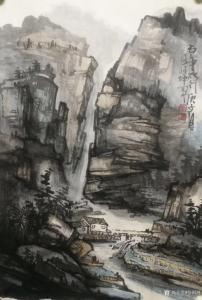张祖坤国画作品《山水-雨中太行》议价