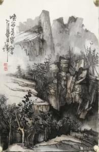 张祖坤国画作品《山水-峡谷羌家》议价