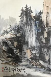 张祖坤国画作品《山水-太行崖壁》议价