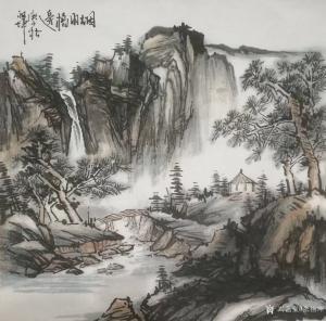张祖坤国画作品《山水-烟雨桥边》议价