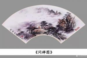 罗树辉国画《山水松树-问禅图》