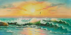 黄联合油画作品-《海浪油画》