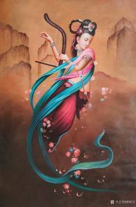 黄联合油画作品-《油画仙女散花》