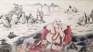 尚建国国画作品《人物画弥勒佛笑口常开》价格40000.00元