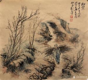 刘玉坚国画《人物画-拾柴》