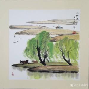 李振军国画作品《江南山水-水乡春意》价格480.00元