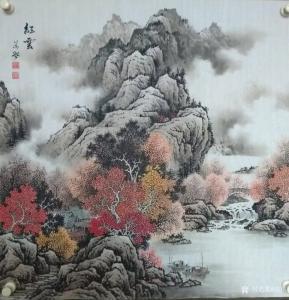 谷风国画作品《山水画-红云》价格600.00元