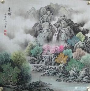 谷风国画作品《山水画-春晖》价格600.00元