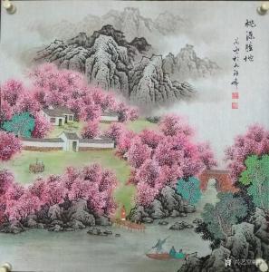 谷风国画作品《山水画-桃源胜地》价格800.00元