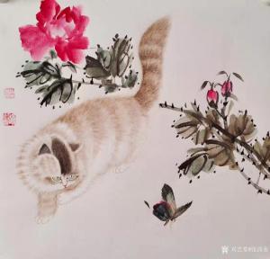 张清永国画作品《花鸟-猫蝶图》价格300.00元