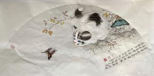 柳士才国画作品《猫咪-猫蝶图1》议价