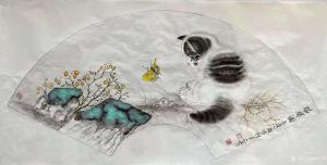 柳士才国画作品《猫咪-猫蝶图2》议价