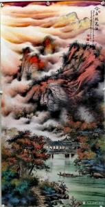 周顺生国画作品-《四尺飞泉山下剑灵溪》