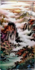 周顺生国画作品-《四尺桃花江堤美人居》