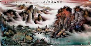 周顺生国画作品-《四尺塔山红叶》