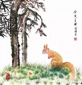宋继兰国画作品-《金鼠呈祥》