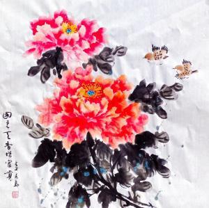 李万勤国画作品-《花鸟牡丹-国色天香》