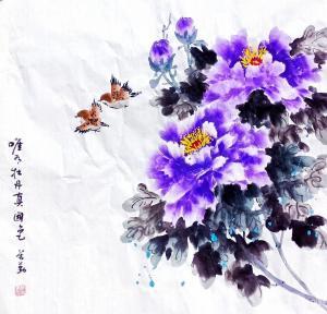李万勤国画作品-《花鸟-唯有牡丹真国色》