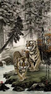 石川国画作品《虎-秋水天长》议价