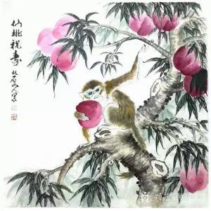 刘文生国画作品《仙桃祝寿》议价