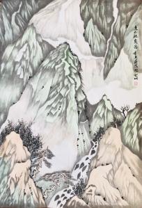 陆登明国画作品-《清泉石上流》