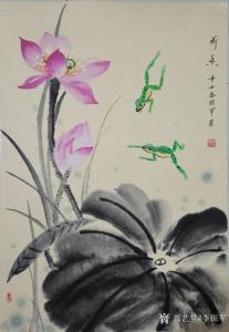 李振军国画作品《花鸟-荷香-青蛙》价格500.00元