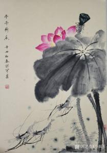 李振军国画作品《花鸟-亭亭荷香》价格500.00元