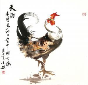 卢士杰国画作品《公鸡-半壁见海日》价格1200.00元