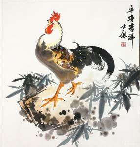 卢士杰国画作品《公鸡-平安吉祥》价格1200.00元