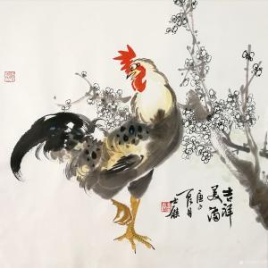 卢士杰国画作品《鸡-吉祥美满》价格1200.00元