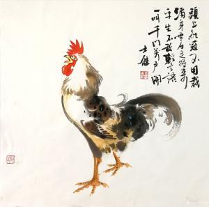 卢士杰国画作品-《鸡-头上红冠不用裁》