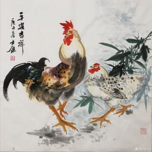 卢士杰国画作品-《鸡-平安吉祥》