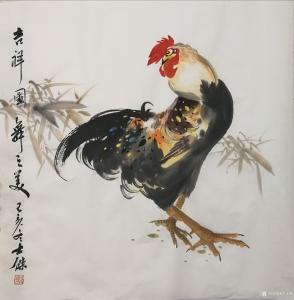 卢士杰国画作品-《公鸡-吉祥图舞之美》