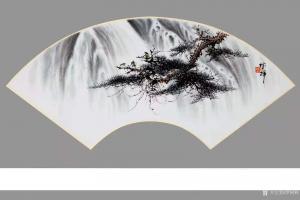罗树辉国画作品《山水-松猴观瀑图》议价