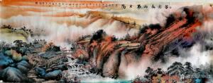 周顺生国画作品-《小六尺苗寨秋山图》