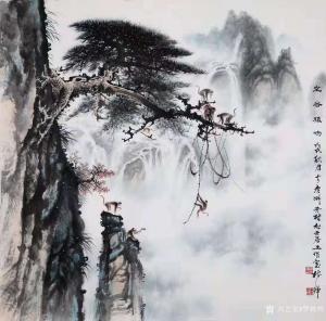 罗树辉国画作品《山水松猴-空谷猿鸣》议价