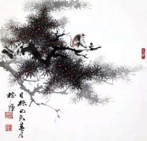 罗树辉国画作品《松猴-目标》议价
