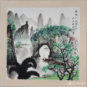 李振军国画作品-《桂林山水甲天下》