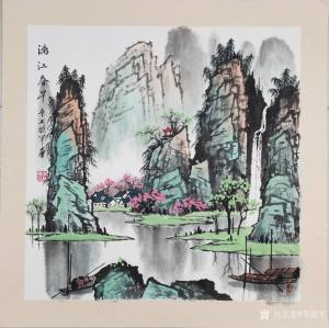 李振军国画作品-《漓江春早》