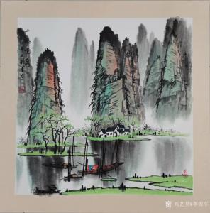 李振军国画作品-《桂林山水-千峰竞秀》