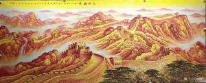 周顺生国画作品-《小八尺金色长城定制》