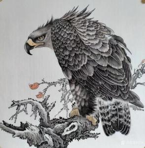 谷风国画作品《鹰眼》价格800.00元
