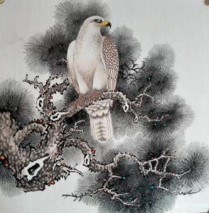 谷风国画作品《鹰-宁静》价格800.00元